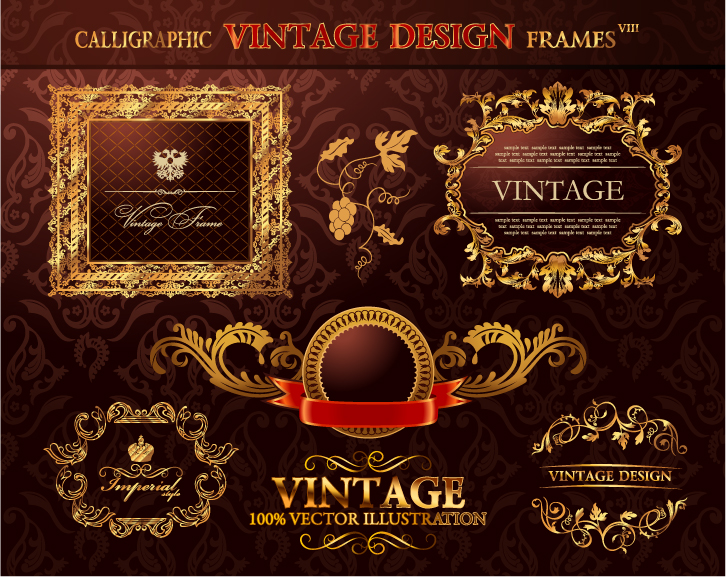 Stock Artwork - Gold Vintage Frames